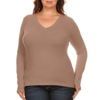 Simlu Plus Size Sweater Long Sleeve Pullover V Neck T Shirt for Women