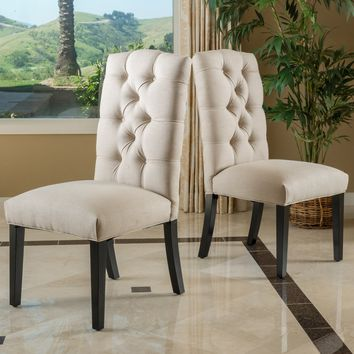 Prince Tufted Natural Plain Fabric Dining Chair (Set of 2)
