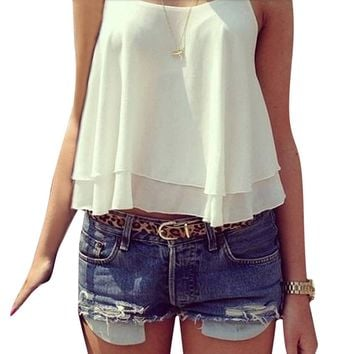 Women's Summer Style Chiffon Tank Top.    Available in White, Black, Purple and Rose.   In Sizes From Small to 4XL.    ***FREE SHIPPING***