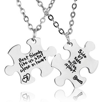 2PC Best Friends like Us Stay Close In Heart Stainless Steel Puzzle Pendant Necklace Jewelry Women Friends Friendship Necklaces