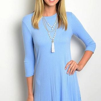 The Key To Style Ribbed Dress - Powder FINAL SALE!