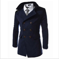 2016 New Men Long Casual Trench Coat Double-Breasted Woolen Slim Jacket Winter Outerwear ( Black Grey Blue ) [8833406732]