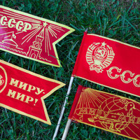 USSR Flag Collection / Soviet Vintage Communist Red Flags on Wooden Flagpoles / Cyrillic Russian Print Propaganda / INSTANT COLLECTION