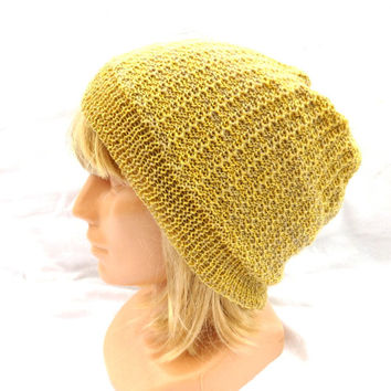 Knitted yellow beanie hat, knit colorful grey yellow hat, knitting cap, women spring hat, men accessories, handmade head dress, knitted tam