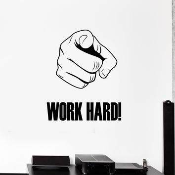 Work Hard Vinyl Wall Decal Hand Motivational Phrase Office Space Decor Stickers Mural (ig5328)