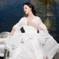 white chiffon flare sleeve embroidery victorian long dress medieval Renaissance