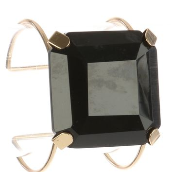 Black Cushion Cut Lucite Stone Metal Wire Cuff Bracelet