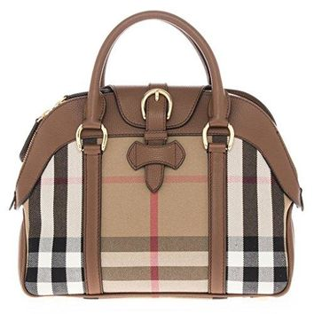 Burberry Women's Medium Leather and House Check Bowling Bag with Buckle Tan