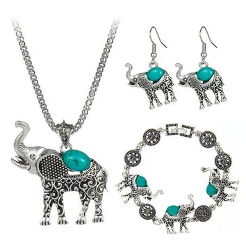 Bohemian Style Fashion Green/Red/Black Blue Stone Jewelry Vintage Cute Elephant  Necklace  For Women Girl Hot Sale 2016
