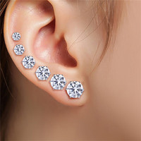 6 Pair 3-8MM Fshion Punk Cubic Ear Studs Stainless Steel Round Small White Black Stud Earrings Jewelry For Cool Women Men SM6
