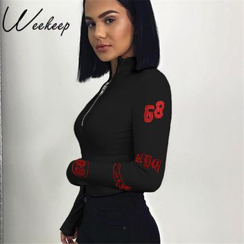 Weekeep Sexy Bodycon Turtleneck Long Sleeve Bodysuit Women Zipper Body Combinaison Feminino Bodysuits Rompers Womens Jumpsuit