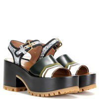 Leather and glitter platform sandals