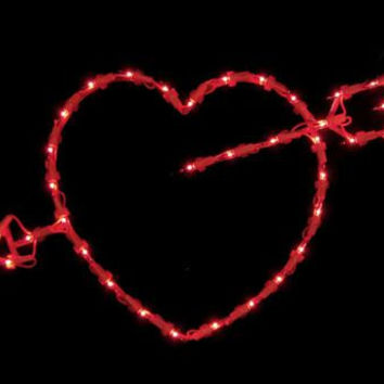 Valentine's Day Window Decoration - 35 Mini Red Bulbs On Red Wire