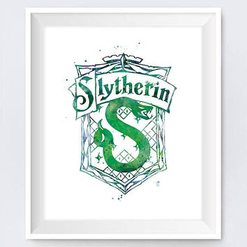 Slytherin Crest Watercolor Print Harry Potter Print Home Decor illustration Wizard Kids Room Gift Slytherin Poster instant Digital Download