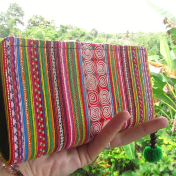 Hill Tribe Rainbow Cotton Wallet Purse Pom Pom Ethnic Hippie Ibiza Gift Festival | eBay