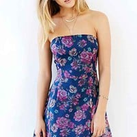 Lucca Couture Floral Strapless Dress- Blue Multi
