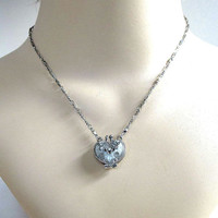Blue Enamel and Rhinestone Pendant Locket Necklace Vintage
