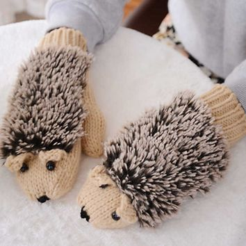 Cartoon Hedgehog Gloves Cute Winter Female Girl Knitted Gloves Gift
