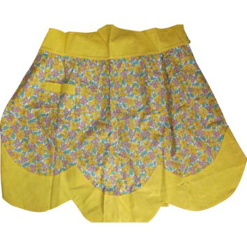 Half Apron Bright Yellow with Pink Yellow Flowers Vintage Handmade