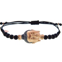 Buddha Head Bracelet with Black Diamonds and Ruby - Rose Gold by Pippo Perez