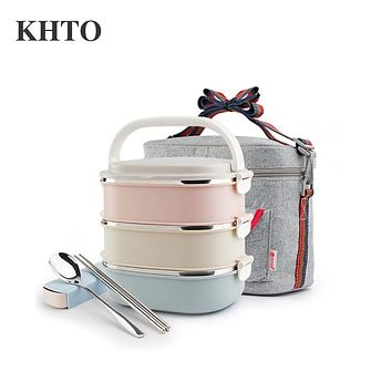 KHTO Container For Food Storage Thermal Lunch Boxs Stainless Steel Japanese Bento Box Portable Picnic With Tableware Set Bag