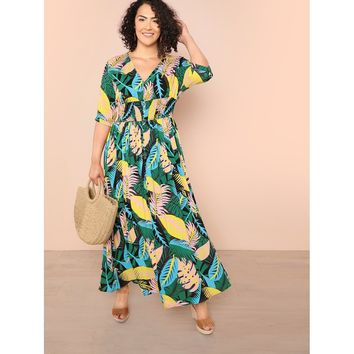 Jungle Leaf Shirred Waist Dress