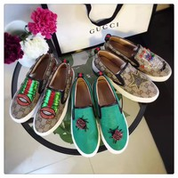GUCCI Women Trending Fashion Embroidery Flower printing Casual shoes