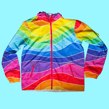 fruit stripe windbreaker | rainbow lgbt pride kawaii decora harajuku 80s 90s jacket plus size 2XL 3XL retro aesthetic hooded