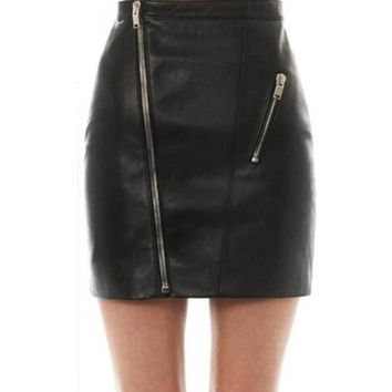 2016 New Women Faux Leather High Waist Skirts Zipper Summer Autumn Pencil Mini Skirt Women Faldas Korean Fashion Saias Femininas