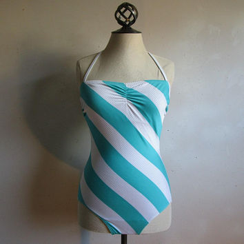 Vintage Gottex 80s Halter Swimsuit Aqua White 1 pc Swimwear 1980s Diagonal Stripe Bathing Suit Made in Canada 14US