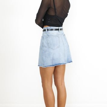 Just Like Smoke Denim Skirt in Mid Wash Produced By SHOWPO