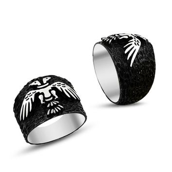 Double headed eagle sterling silver band mens ring