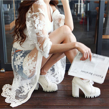 OOPS Floral White Lace Organza Chiffon Cardigans 2016 Fashion Women's Cardigans Casual Open Stitch Sunscreen Capes Coat 1503109