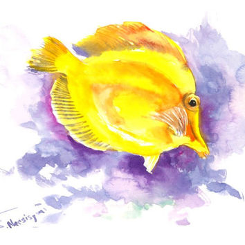 Coral Fish painting, original watercolor painting, 12 X 9 in, bright yellow purple violet wall art, children room