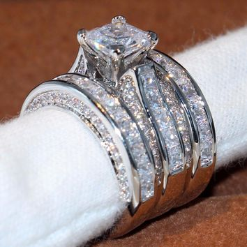 14KT White Gold Filled Princess Cut 5A Clear CZ Zirconia 3pcs Ring Set