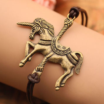 Unicorn bracelet,retro bronze Unicorn pendant bracelet,brown leather bracelet---B211