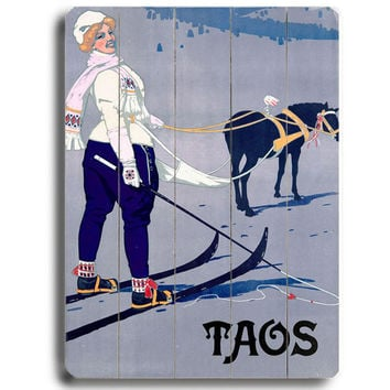 Personalized Taos Skiing Wood Sign