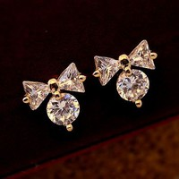 Cute Bow on Diamond Earrings - LilyFair Jewelry