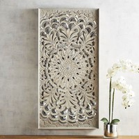 Gray Carved Medallion Panel