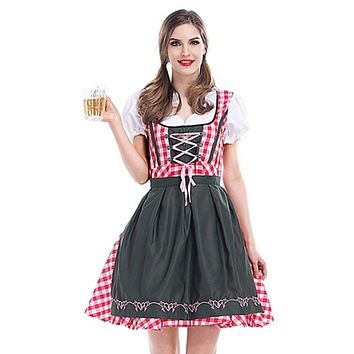 Womens Beer Costume Oktoberfest Halloween Party Maid Plaid Fancy Dress Plus Size Macchar Cosplay Catalogue