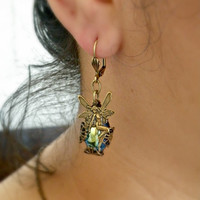 Mythical Fairy Earrings - Vintage West German Stones - Fantasy- Wicca- Tamikaalceedesigns