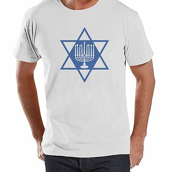 7 at 9 Apparel Men's Menorah Hanukkah T-shirt