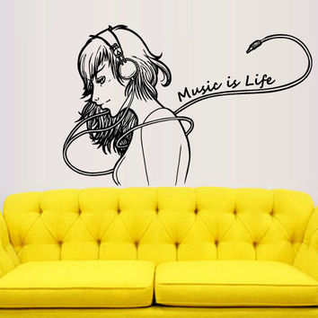 Wall decal decor decals sticker art vnyl Mural Music is Life headphones Play Electro house Office Lounge Living room Bedroom Dorm (m1310)
