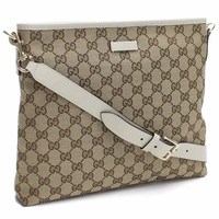 Gucci Original GG Canvas Beige Ebony White Leather Trim Messenger 388924