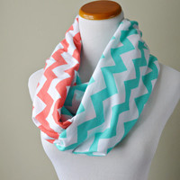 Tiffany and Coral Chevron scarf, infinity soft jersey scarf