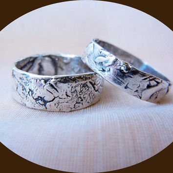 Mens or Womens Silver Wedding Band, His and Her Rustic Silver Wedding Ring, This is for one ring ONLY