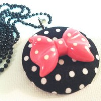 Polka Dot Bow Fabric button Necklace from Kute As a Button Shop