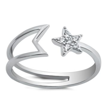 Shooting Star Ladies Wrap Ring Size 5-10 in Sterling Silver and CZ