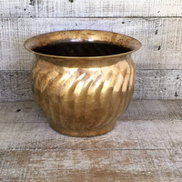 Brass Planter Large Brass Plant Pot Garden Container Hollywood Regency Outdoor Planter Indoor Planter Mid Century Planter