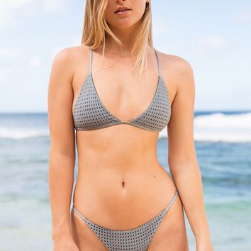 ACACIA Swimwear 2019 Shaka Mesh Top in Platinum